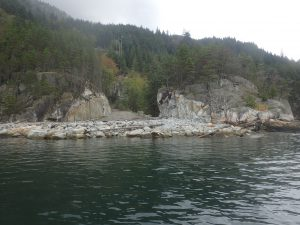 Recently modified shoreline in a commercial/industrial tenured area near the Defence Islands in Howe Sound. (Photo: Donna Gibbs)