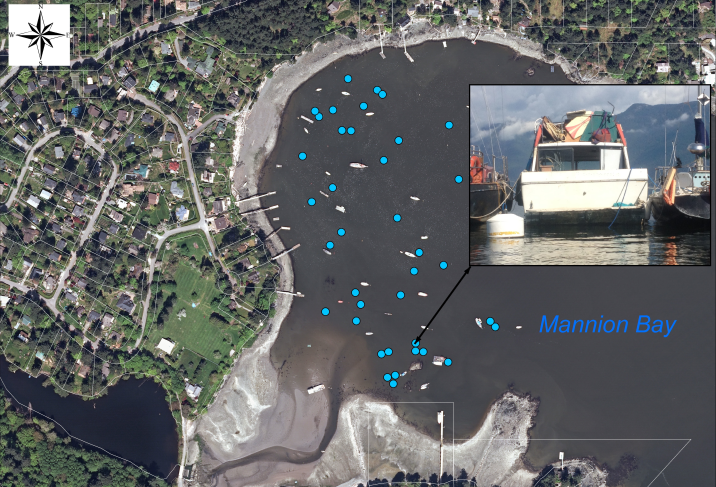 GIS vessel inventory layer (blue dots) from Bowen Island Municipality database 2015. (Imagery: Islands Trust)