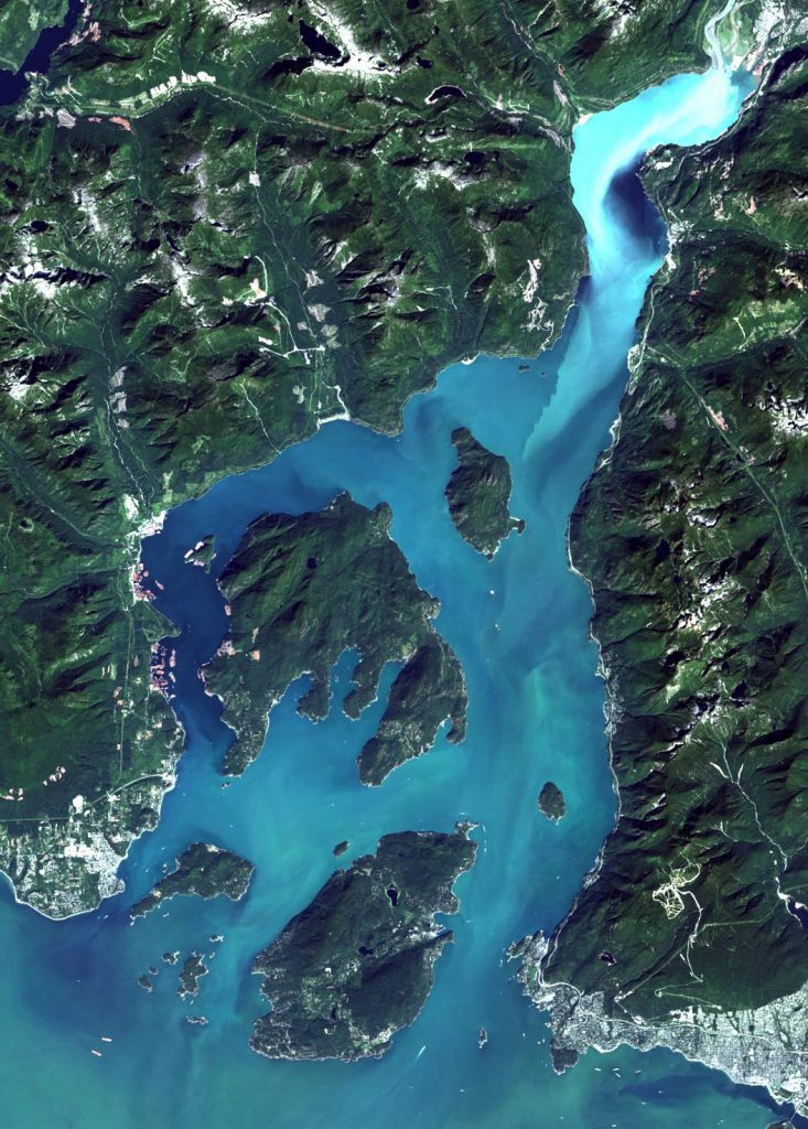 The Landsat-8 true colour image of Howe Sound on Aug. 19, 2016 at 30 m spatial resolution. The bright water covering most of the Sound is from the unusual coccolithophore bloom observed in the Sound and the Strait of Georgia in August 2016. The very bright water at the head of the Sound is from high-suspended sediment. The image was downloaded from USGS Earth Explorer using The Development Seed's Libra Browser for Landsat-8 and processed by S. King, Sea This Consulting.